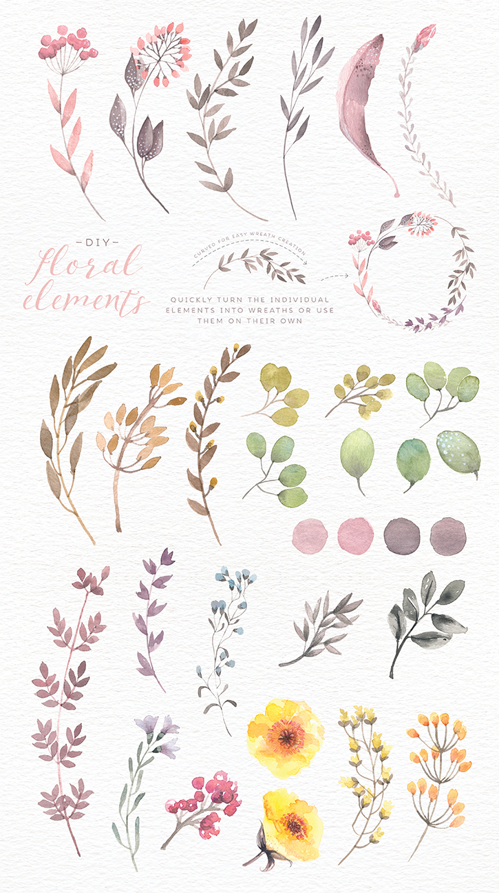 Watercolor floral edges and backgrounds - Lisa Glanz