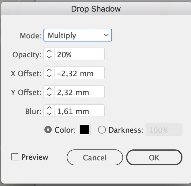 Drop Shadow settings