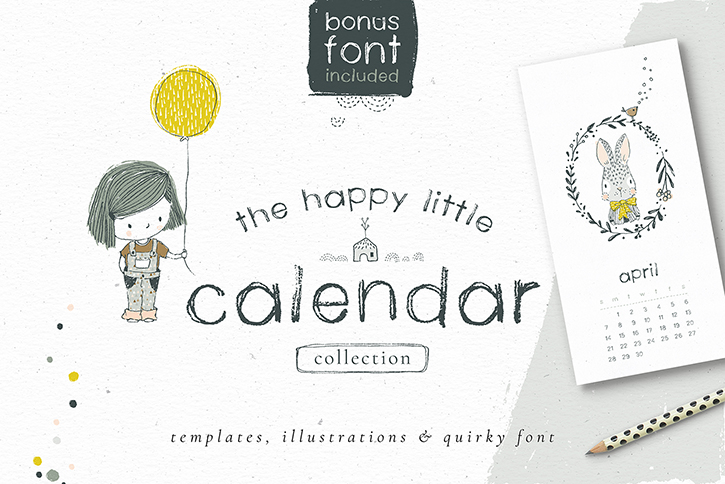 A lovely versatile collection of calendar templates, illustrations a wonderfully rustic matching font!