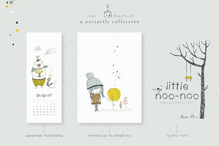 A super versatile collection with three different calendar templates, over 100 drawings, 15 lovely illustration compositions and a free matching font!