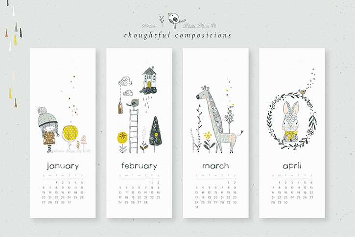 Printable calendar templates and lovely illustrations