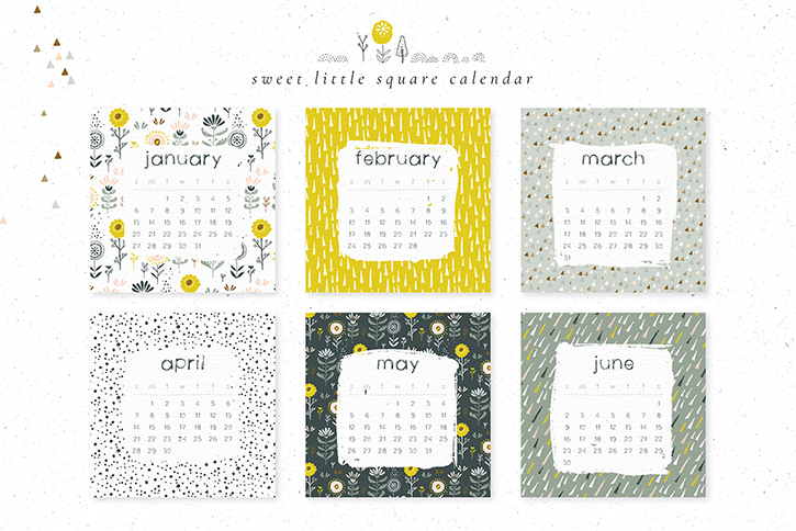 square calendar templates and illustrations