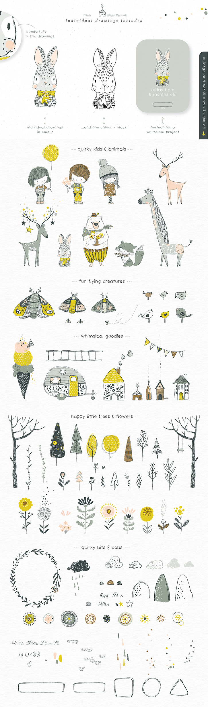 quirky and whimsical illustrations and clipart