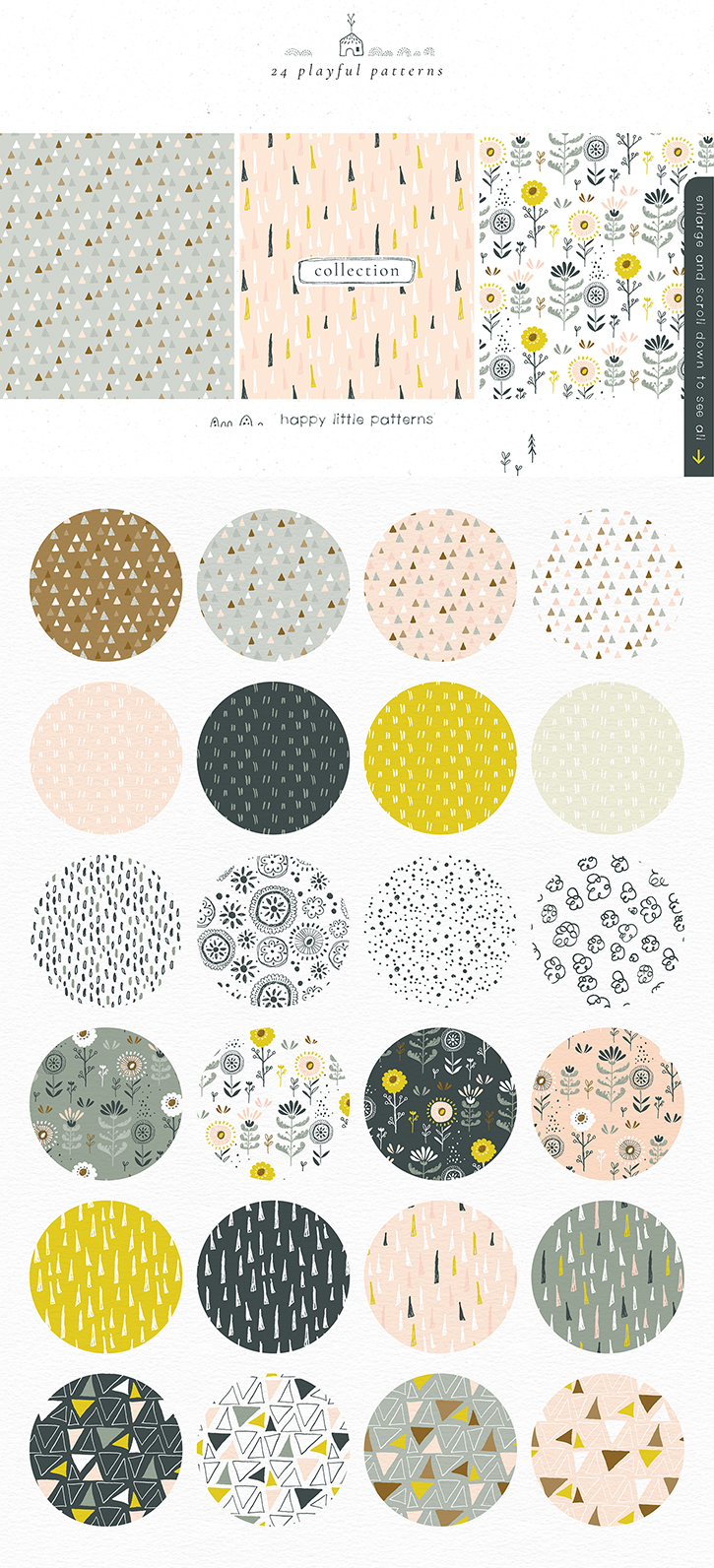 Fun and quirky kids seamless patterns
