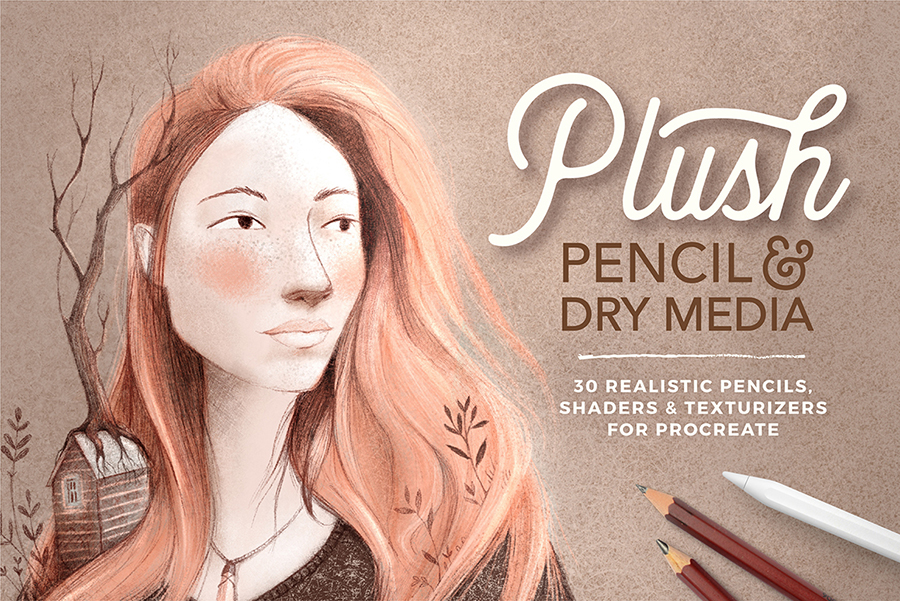 Plush pencil and dry media brush collection